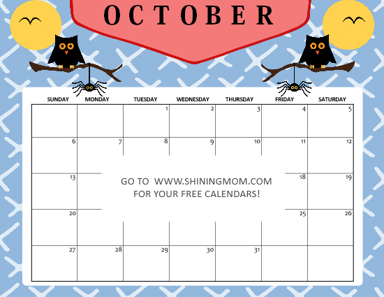 Halloween October calendar 2019