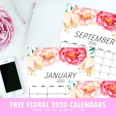 FREE Printable Calendar 2020 In Pretty Florals with Notes!
