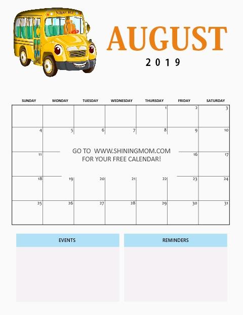 free printable August 2019 calendar for school kids
