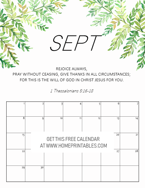 September 2019 calendar with Bible verse