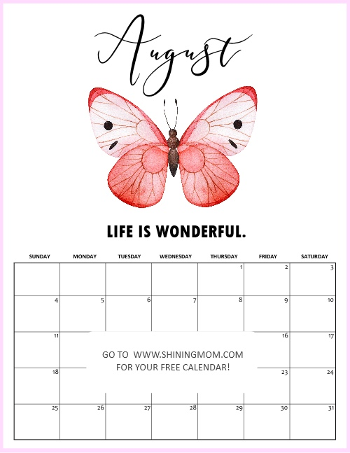 August calendar 2019 free printable