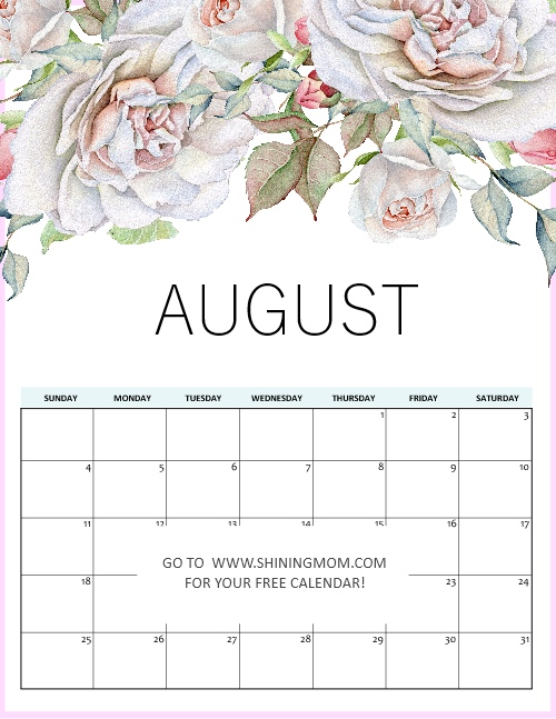 August calendar 2019 in pretty florals