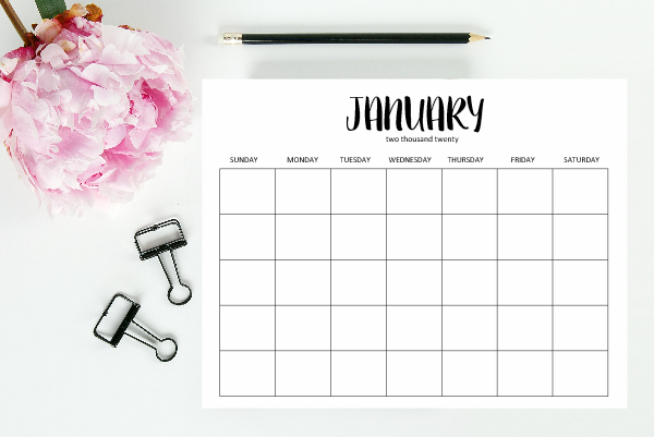 printable 2020 editable calendar template