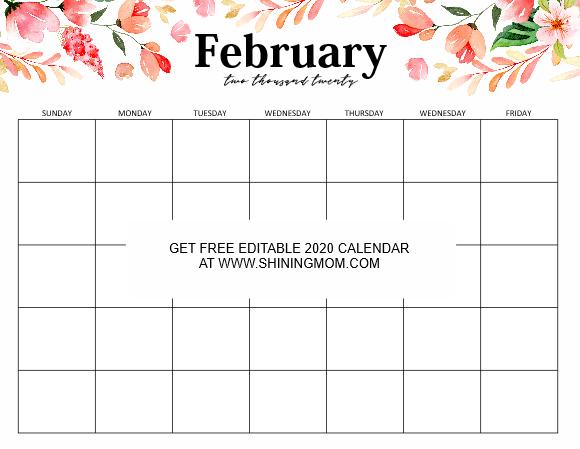 February 2020 editable calendar template