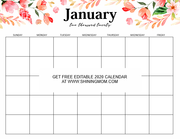 January 2020 editable calendar template