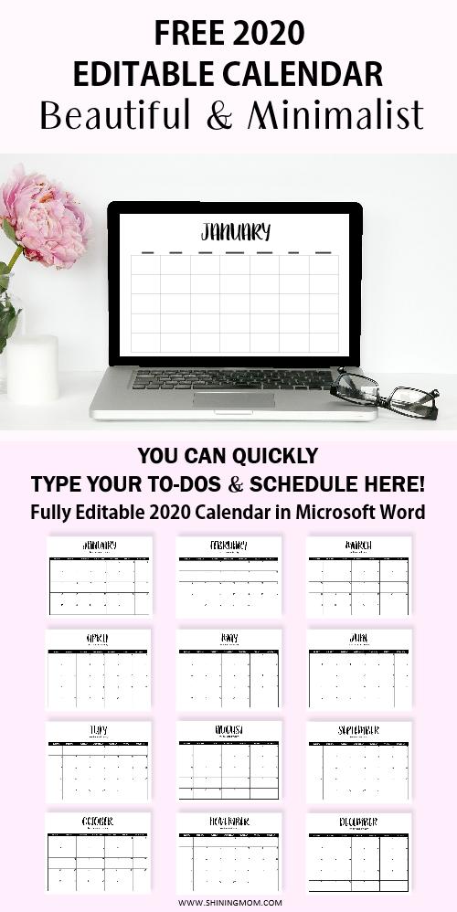 editable calendar 2020 free printable
