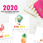 2020 printable calendar monthly
