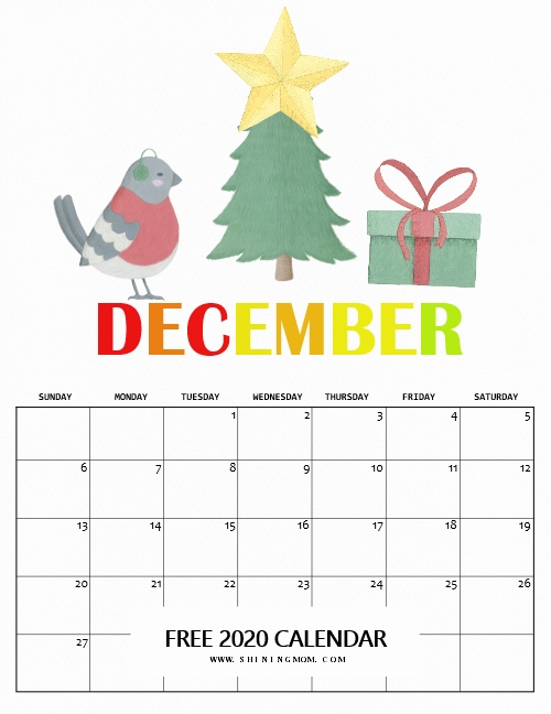 December 2020 calendar in Christmas theme for free download