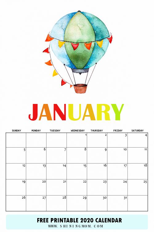 January 2020 calendar free printable