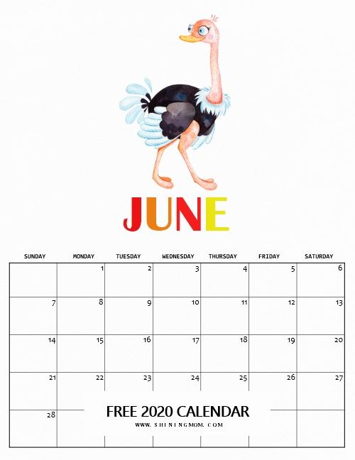 June 2020 calendar printables
