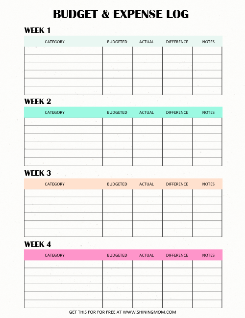 free printable expense tracker weekly and monthly