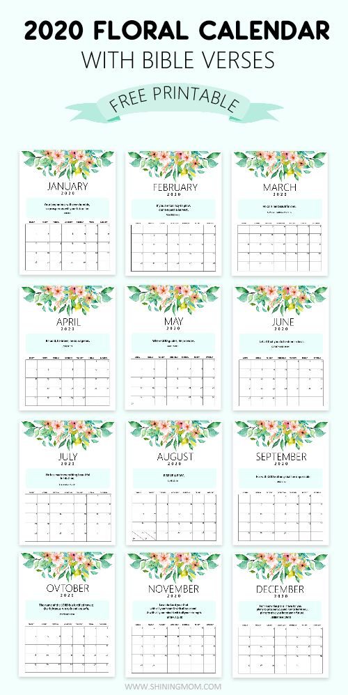 FREE 2020 Desk Calendar Printable with Bible Verses