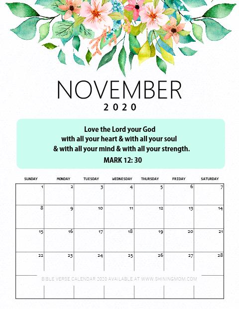 November 2020 Bible Verse Calendar Free Printable