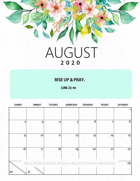 August 2020 Calendar Free Printable