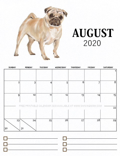 August 2020 monthly calendar free printable