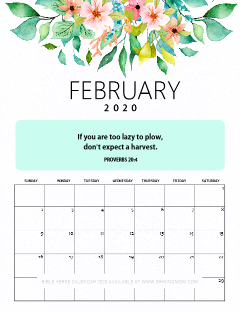 February 2020 Calendar Printable with Bible Verse