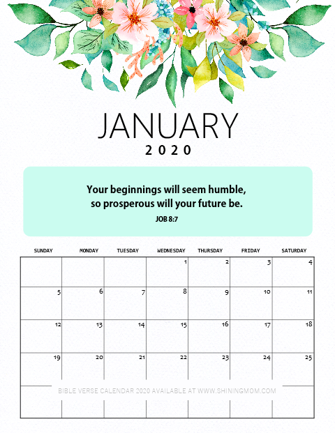 January 2020 Desk Calendar Printable with Bible Verses