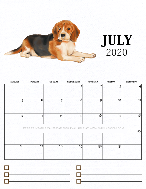 July 2020 monthly calendar free printable