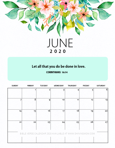 June 2020 Calendar Printable with Bible Verse