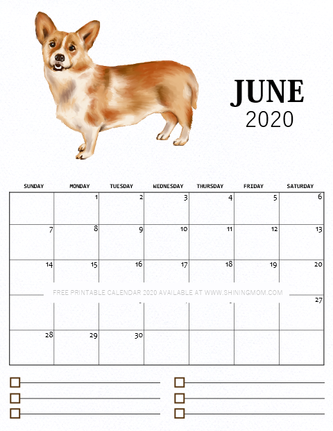 June 2020 monthly calendar free printable