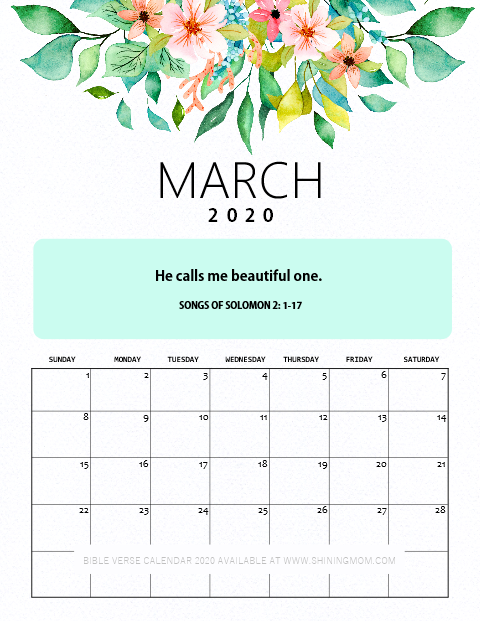 March 2020 Calendar Printable with Bible Verse