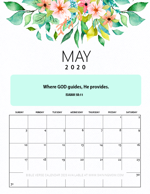 May 2020 Calendar Printable with Bible Verse