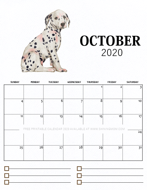 October printable monthly calendar 2020