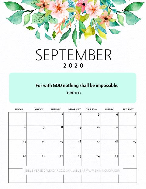 September 2020 Calendar Free Printable