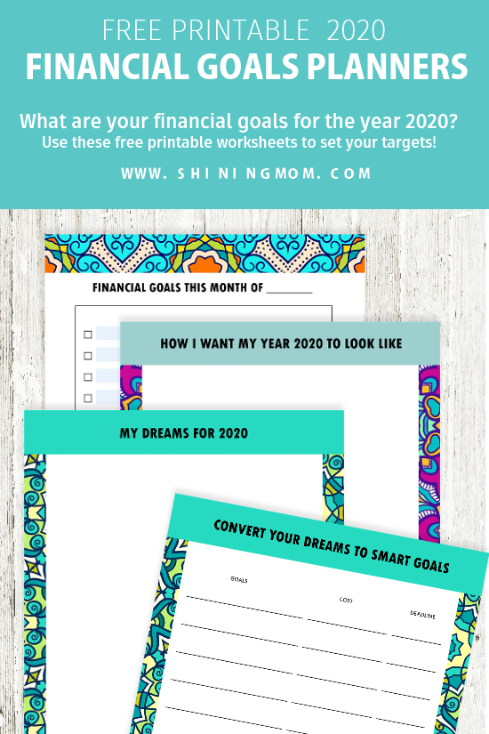 Financial goal-setting planner 2020 free printable