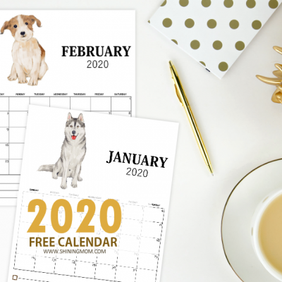 FREE Printable Monthly Calendar 2020 in Super Cute Dog Theme!