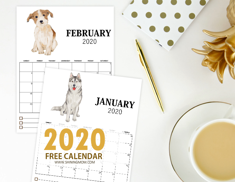 free printable monthly calendar 2020 in cute dog theme
