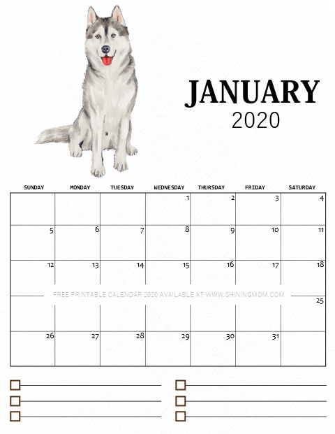 January printable monthly calendar 2020