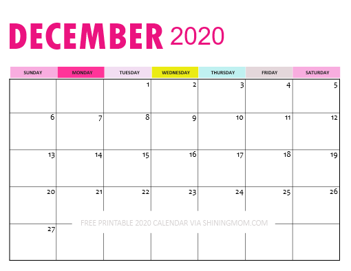 December 2020 Calendar Downloadable