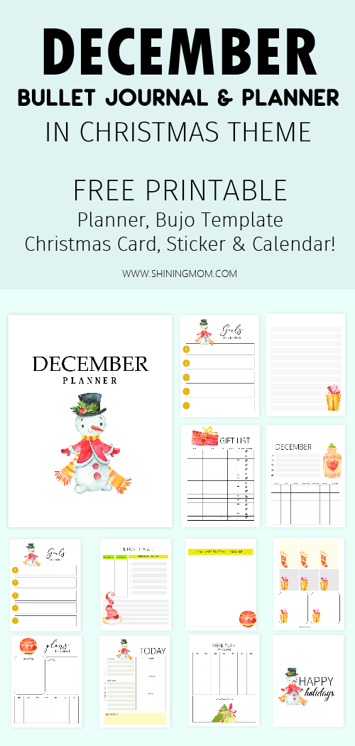 free printable December bullet journal and planner free printables