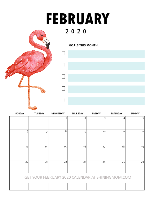 February 2020 Calendar flamingo