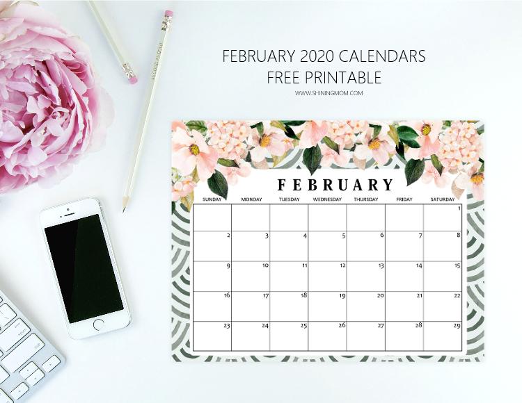 February 2020 calendar printable