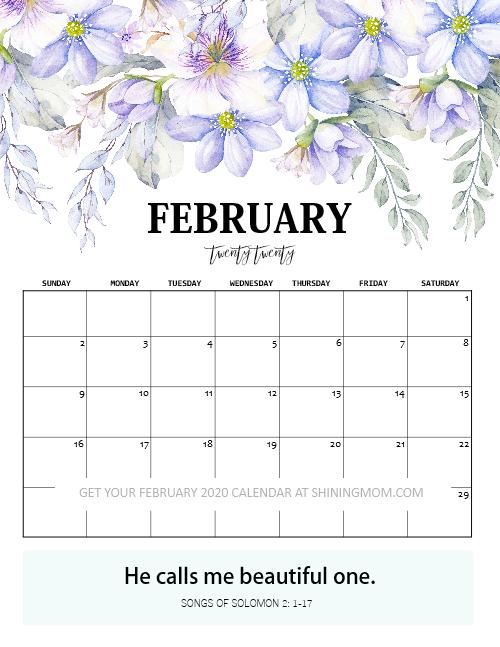February calendar floral