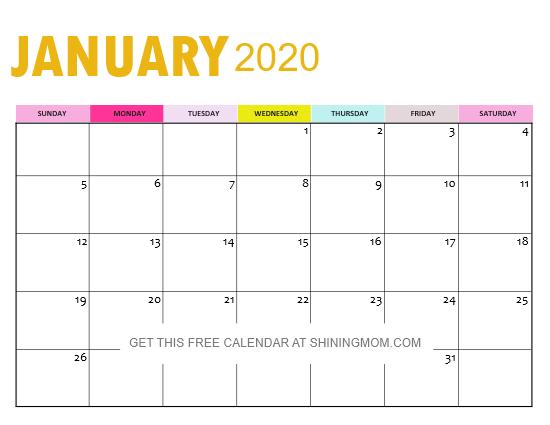 January 2020 Calendar Printable PDF