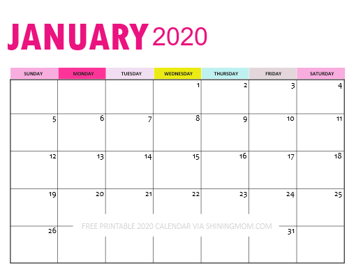 Downloadable January 2020 Calendar