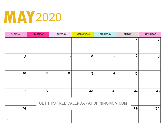 May Calendar Printable PDF