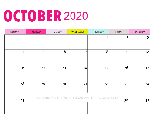 October 2020 Calendar Downloadable