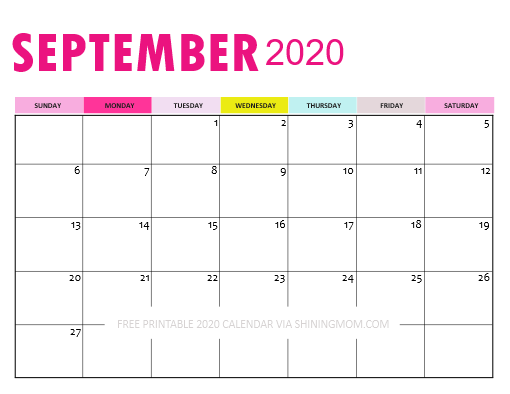 September 2020 Calendar Downloadable
