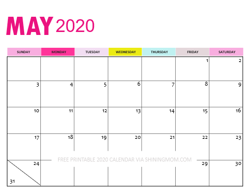Downloadable May Calendar