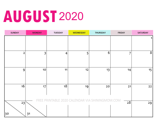 Downloadable August 2020 Calendar