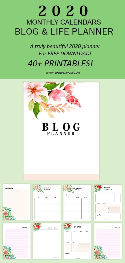 free printable blog planner 2020