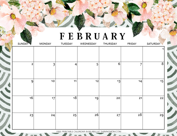 download free printable February 2020 calendar
