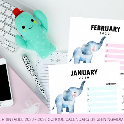 School Calendar 2020 to 2021 Free Printables