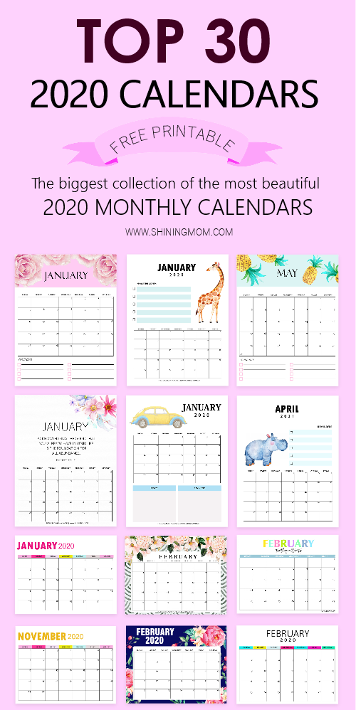top 30 printable calendars 2020 to download for free shining mom