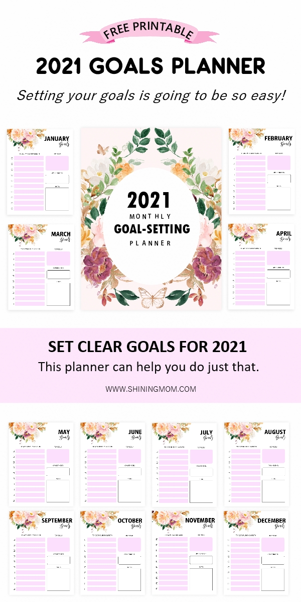 2021 monthly goals planner free printable