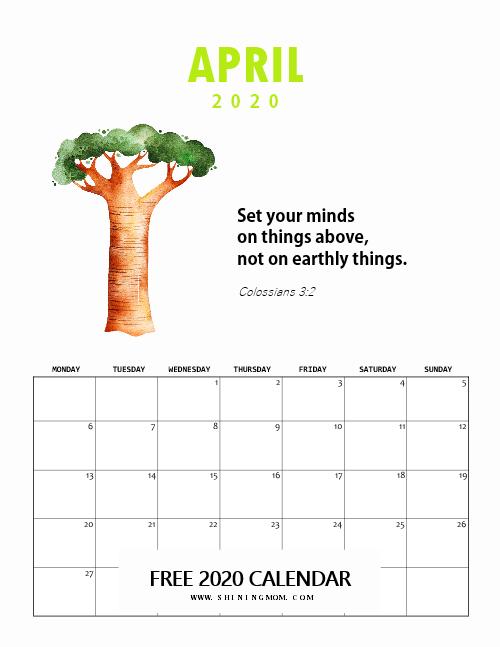April 2020 Calendar Kids
